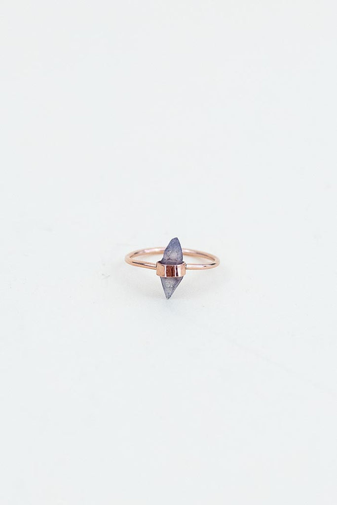 raw sapphire ring wrapped in solid 14k rose gold women's magical jewelry dainty minimal made on maui wings hawaii september birthstone