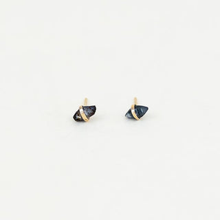 raw sapphire stones wrapped in solid 14k yellow gold stud earrings women's crystal magical jewelry dainty fine made on maui wings hawaii september birthstone