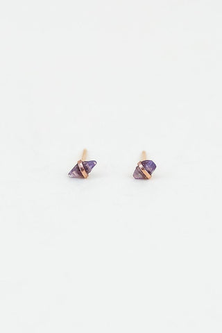 raw sapphire stones wrapped in solid 14k rose gold stud earrings women's crystal magical jewelry dainty fine made on maui wings hawaii september birthstone