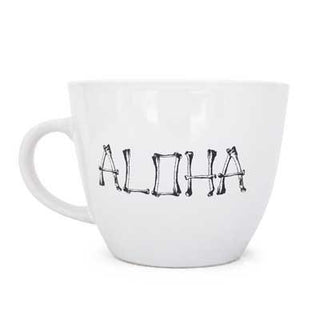 wings hawaii black design or metallic gold design of aloha spelled with bones large white mug