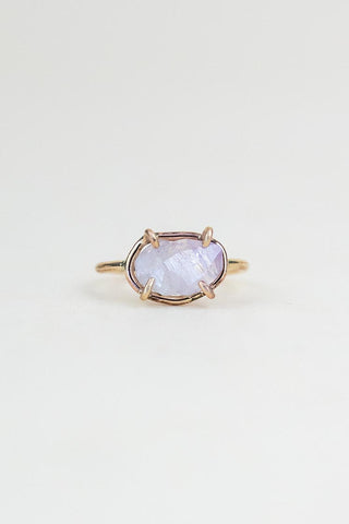 raw amethyst crystal in a prong setting gold filled ring