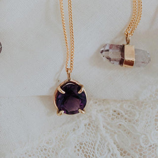 Prongset Gemstone Necklace - Amethyst