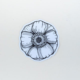 anemone waterproof decal sticker hand drawn maui hawaii artist black and white