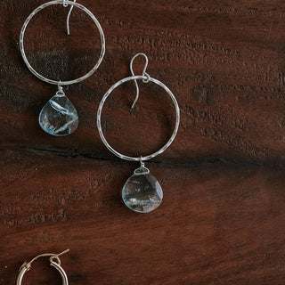 sterling silver full circle hoop earrings with aquamarine crystals women's magical gemstone jewelry mermaid love hand made haiku maui wings hawaii