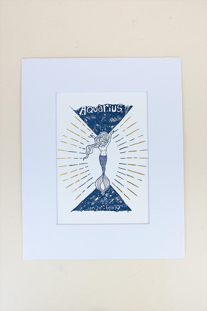 aquarius mermaid zodiac print with mat blue and gold wings hawaii