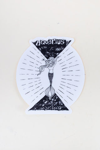 aquarius mermaid zodiac sticker large black and white decal wings hawaii