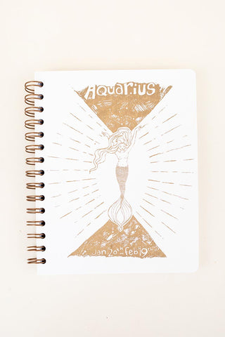 zodiac journal notebook aquarius birthday season mermaid artwork wings hawaii