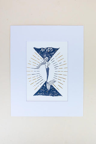 aries mermaid zodiac print in blue and gold hand drawn art wings hawaii