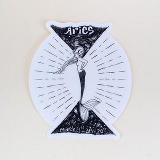aries mermaid zodiac sticker large black and white decal wings hawaii