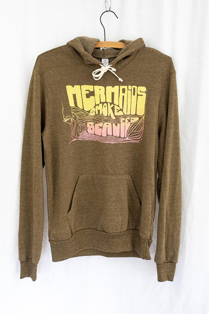 brown pullover hoodie with front pocket and yellow and pink mermaids smoke seaweed graphic screen printed on the front wings hawaii