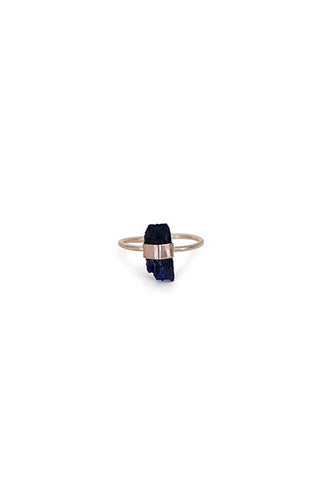 gold filled wrapped azurite gemstone crystal ring womens fine dainty magical jewelry hand made in haiku maui wings hawaii
