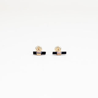 black tourmaline banded earrings on 14k gold filled wire women's magical crystal jewelry fine dainty minimal style hand made in haiku maui wings hawaii