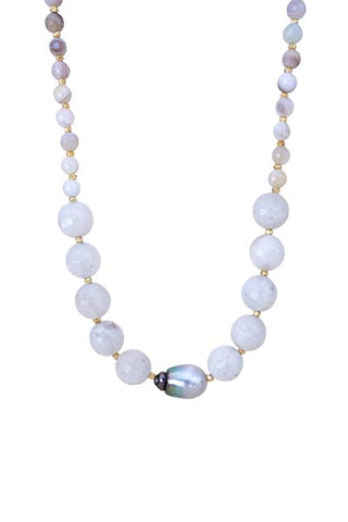Tahitian Pearl and Rainbow Moonstone Beaded Necklace