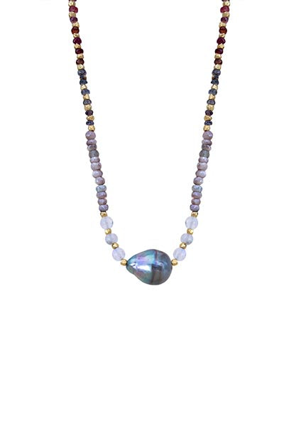 Tahitian Pearl and Spinel Necklace