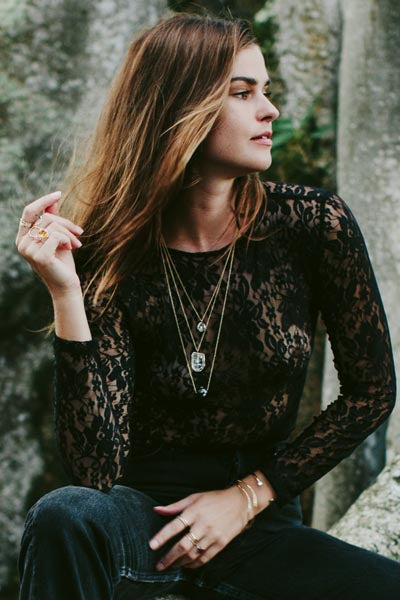 Lace Long Sleeve Shirt - Black