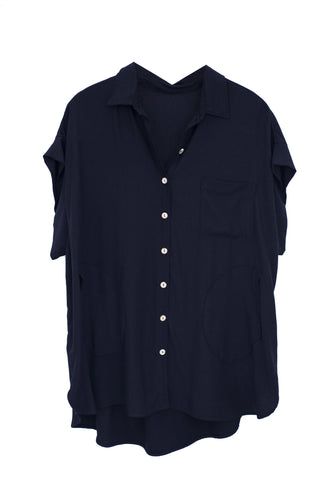 Hand sewn loose fit button down short sleeve top in black 100% rayon