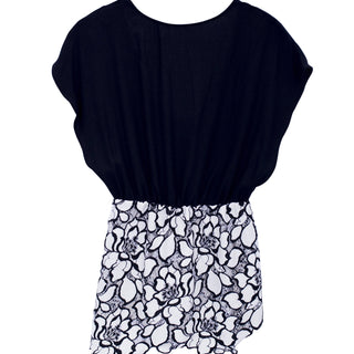 wings hawaii hand sewn black shirt with bloused top cinched at the waist with flaring black and white flower lace bottom