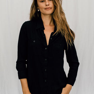 rayon pocket blouse long sleeve with buttons black women's top clothing casual and chic wings hawaii