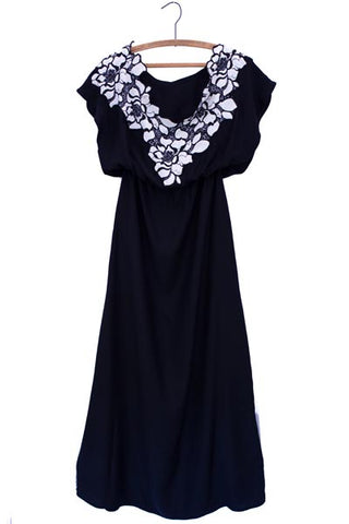 wings hawaii hand sewn 100% rayon black maxi dress with loose fitted top with black and white flower lace edge around neckline