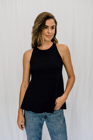 black ribbed ryanne swing tank cotton spandex blend fabric women's top casual and chic go-to piece for day and night wings hawaii