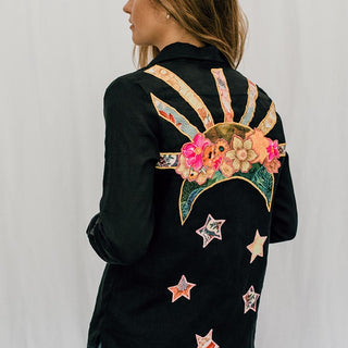 100% linen black button up blouse with pocket and sun and moon and stars cut out of vintage fabric and sewn on the back all one of a kind women's top hand sewn in haiku maui by wings hawaii