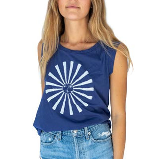 Navy Sun + Moon Cap Sleeve T-Shirt
