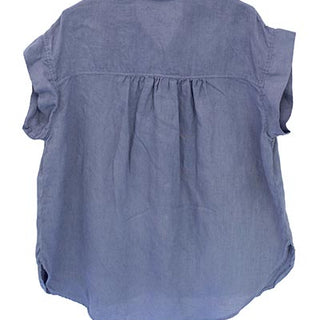 Short Sleeve Pocket Blouse - Blue
