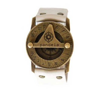 wings hawaii pandeia maui made compass sundial watch leather and antiqued brass
