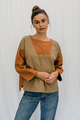 100% linen boxy top dual tone long sleeves women's clothing casual and chic hand sewn haiku maui wings hawaii