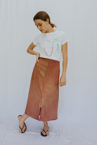 Brie Tea Skirt - Terracotta