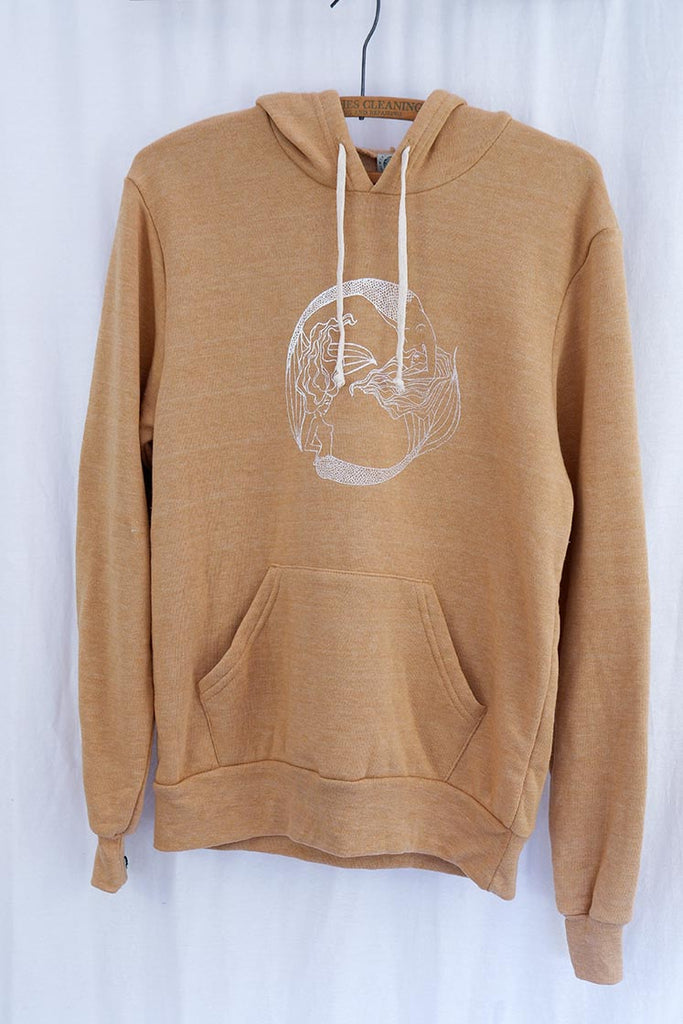 mermaid fleece pullover hoodie with front pocket super soft and cozy women's sweater camel color screen printed in haiku maui wings hawaii