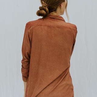 Long Sleeve Pocket Blouse - Rayon