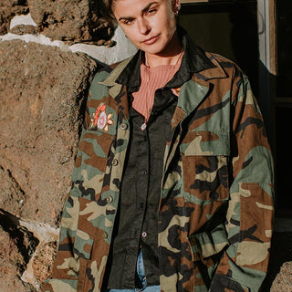 vintage camo jacket with moon phases, flowers, stars, and crystal gemstone shapes cut out from vintage fabric and hand sewn on the back women's winter wear big over sized jacket coat wings hawaii