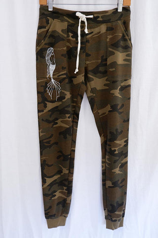 camo sweat pants with mermaid on the side and pockets super soft fleece lined women's pants fall and winter wear beach babe wings hawaii