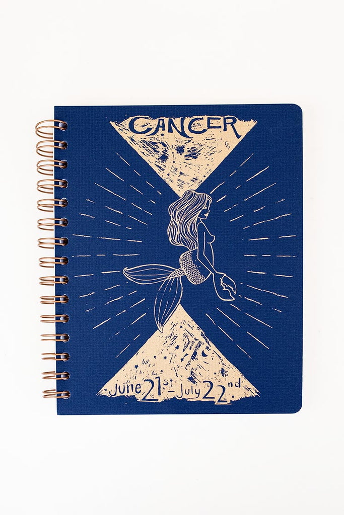 cancer zodiac notebook spiral bound in various colors astrology cosmic celestial vibe wings hawaii