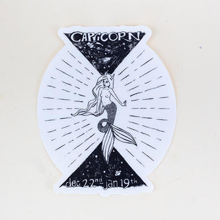 capricorn mermaid zodiac sticker large black and white decal wings hawaii