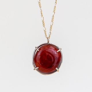 smooth carnelian stone in a prong setting gold filled necklace