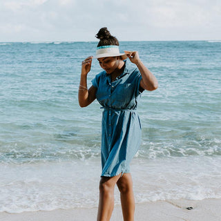 button up front chambray dress with pockets and fabric belt super soft day to night look women's dress beach babe mermaids life hand sewn haiku maui wings hawaii summer essentials fall winter spring