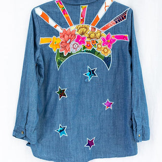 100% cotton chambray blue long sleeve top with pockets women's cool casual clothes sun moon and flowers from vintage aloha fabric sewn on the back boho beach babe summer essentials made in haiku maui wings hawaii