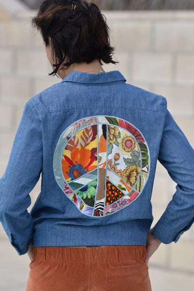 blue linen button up blouse womens top hand sewn peace sign fabric graphic pockets everyday wear summer festival haiku maui wings hawaii