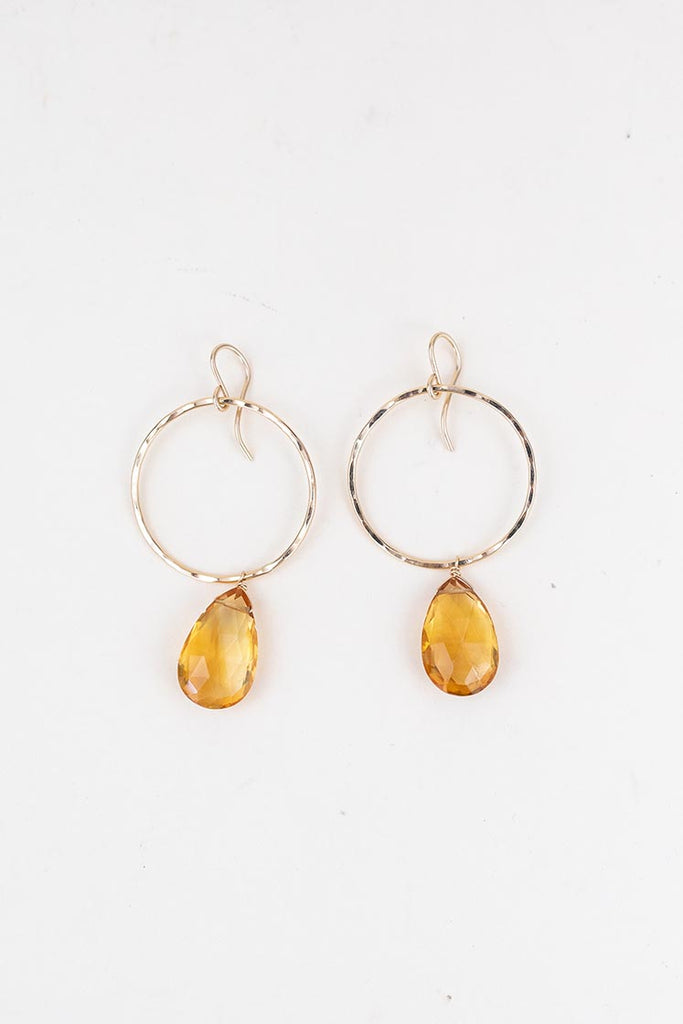 full circle hoop earrings sterling silver or gold filled with citrine crystal stones women's magical jewelry hand made haiku maui wings hawaii