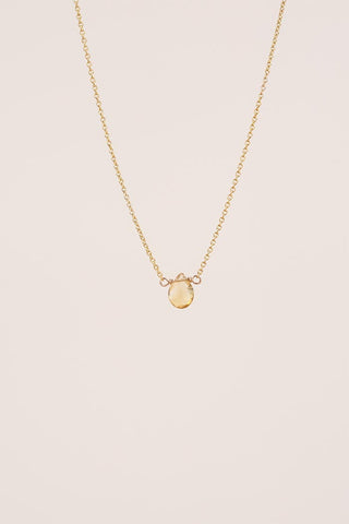 tiny citrine stone on gold filled delicate chain women's magical crystal jewelry dainty minimal simple classy chic hand made haiku maui wings hawaii