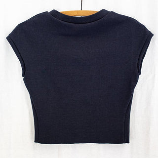 back view of navy cropped top with cap sleeves