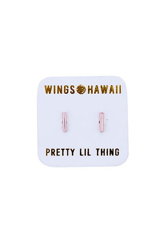 wings hawaii hand made tiny dainty bar studs earrings minimal geometric shaped jewelry 14 karat gold