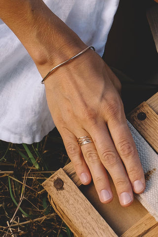 sterling silver and gold filled womens dainty stacking rings mix and match layer minimalist casual dressy style hand made haiku maui wings hawaii