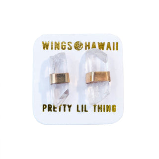 wings hawaii hand made danburite crystal wrapped stud earrings in sterling silver or gold filled