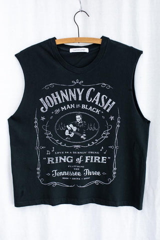 johnny cash daydreamer la black cropped tank top ring of fire band shirt music festival country the man in black muscle tank