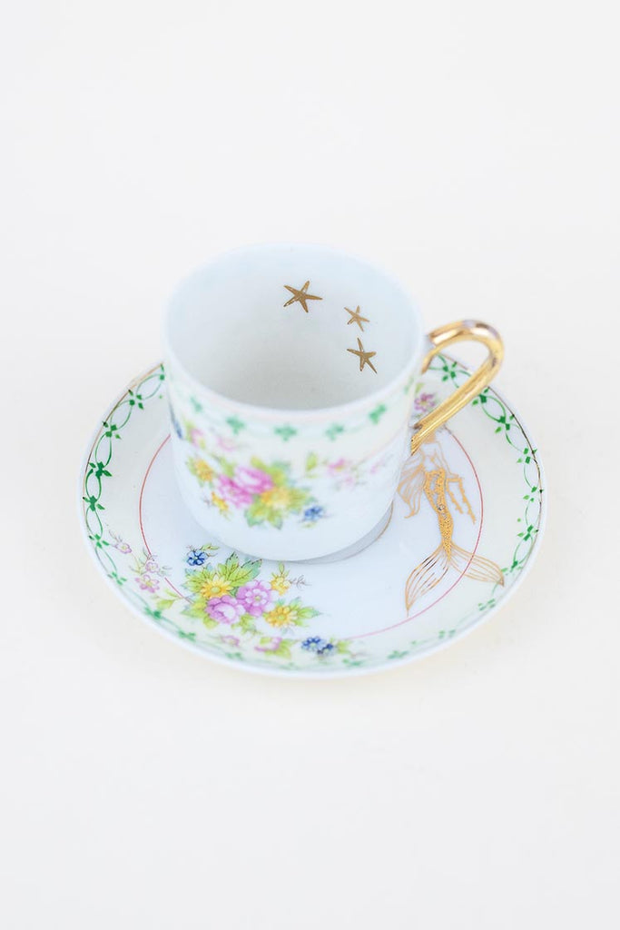 vintage demi tasse tea cup and saucer set with mermaid and stars decals wings hawaii