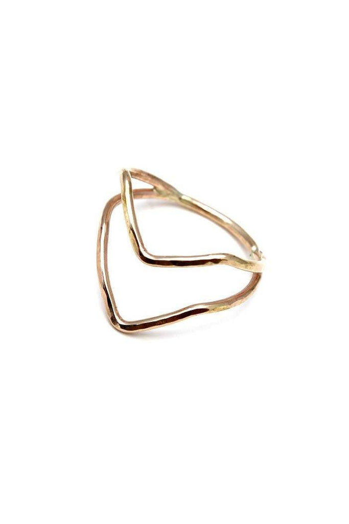 wings hawaii jewelry boomerang rings arrow chevron handmade bent unique one of a kind raw hammered stacker stacking sterling silver gold  original ring bent crooked misshapen simple minimal minimalist everyday band divet v shape double two