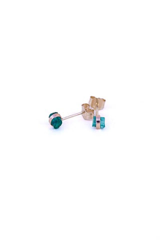 wings hawaii handcrafted stud earrings with tiny banded emeralds in 14 karat yellow gold
